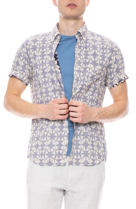 Side Short Sleeve Fan Print Shirt
