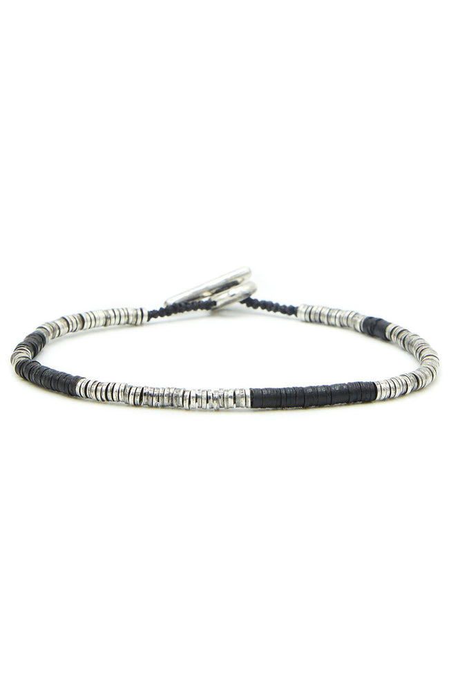 Sterling Silver Bracelet with African Vinyl Black Beads