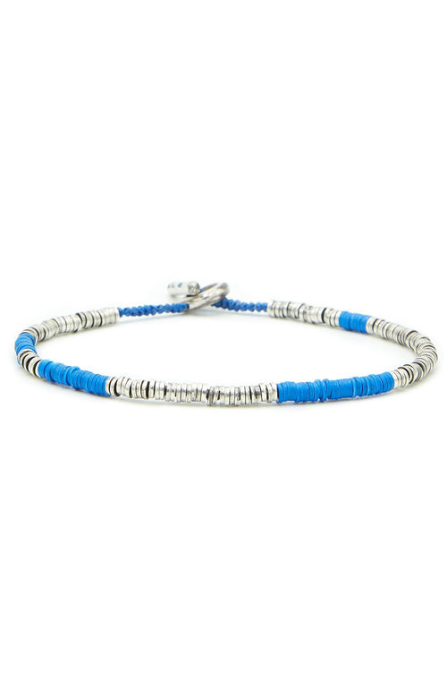 Sterling Silver Bracelet with African Vinyl Blue Beads