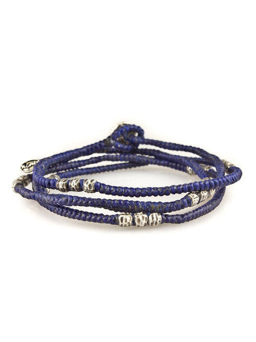 Corded Wrap Bracelet with Silver Beads in Blue