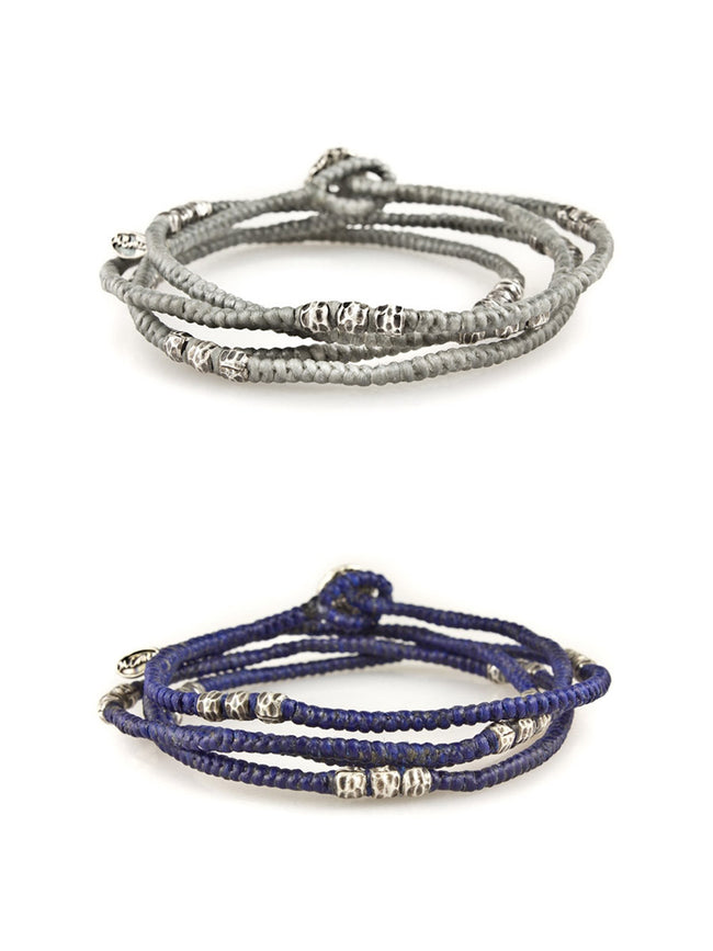 Corded Wrap Bracelet with Silver Beads