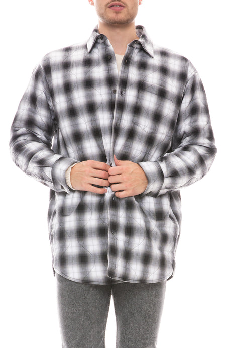 Sakari Plaid Longline Quilted Shirt Jacket
