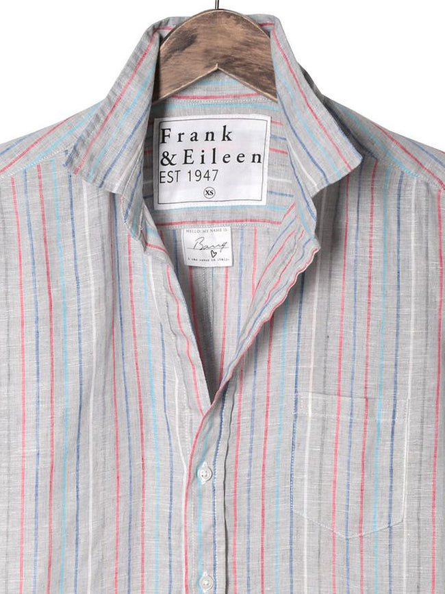 Womens Barry Italian Linen Multi Stripe Shirt