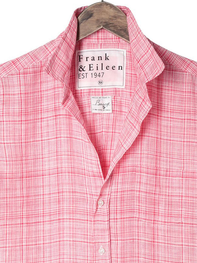 Womens Barry Italian Linen Plaid Shirt