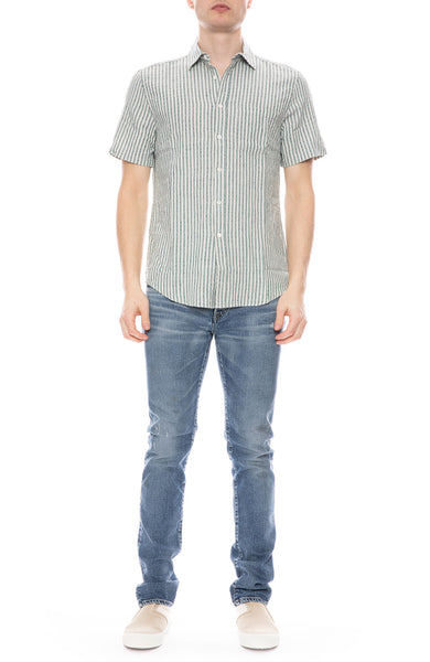 Beach Cabin Linen Striped Shirt