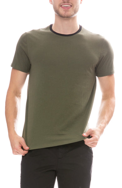 ATM Classic Jersey Crew T-Shirt in Beetle Green Combo
