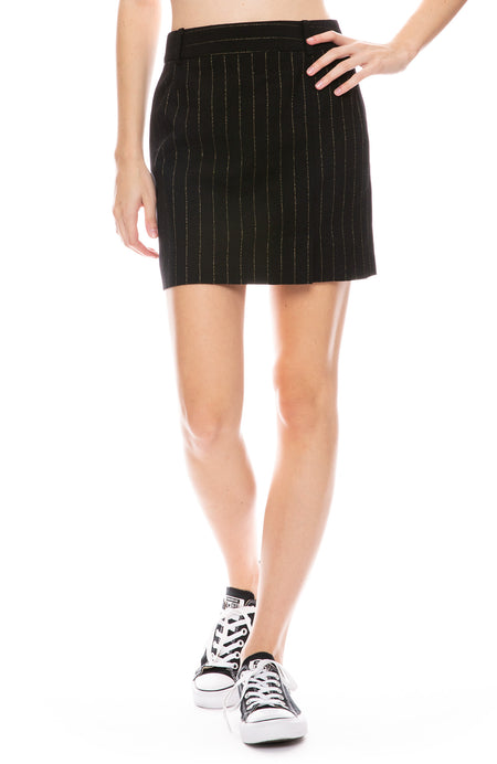 Gold Pinstripe Mini Skirt