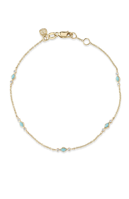 Turquoise and Diamond Bezel Bracelet