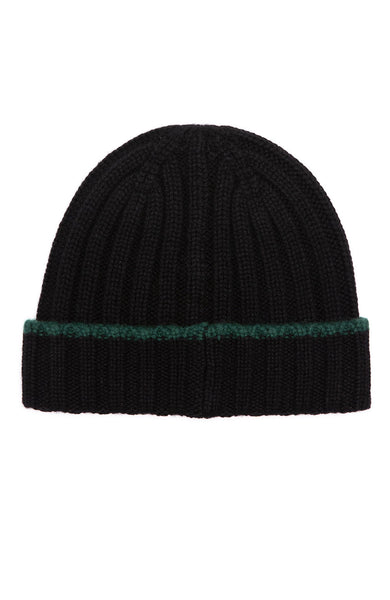 Alex Mill Black Cashmere Rib Beanie with Green Tipping Beanie at Ron Herman