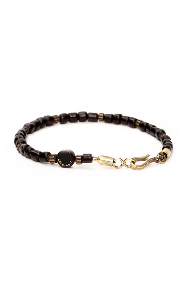 Caputo & Co Black Recycled Glass Bead Bracelet at Ron Herman