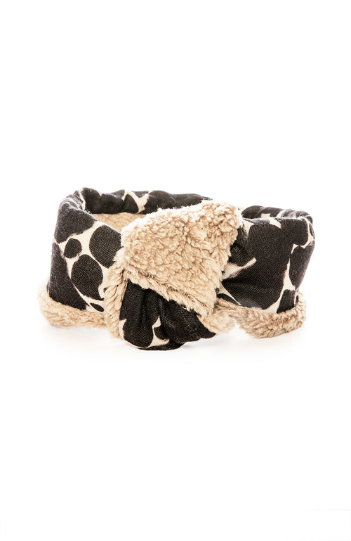 Yarn & Copper Wool Headband Scarf in Black Print at Ron Herman