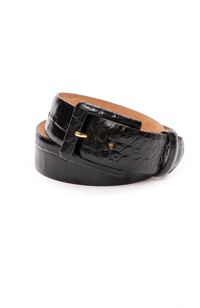 W. Kleinberg Embossed Crocodile Covered Buckle Belt in Black at Ron Herman