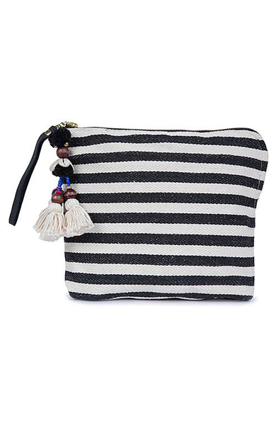 Jade Tribe Valerie Zip Clutch and Black and White Stripes