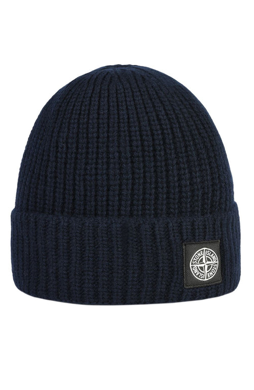 Stone Island Rib Knit Beanie in Blue at Ron Herman