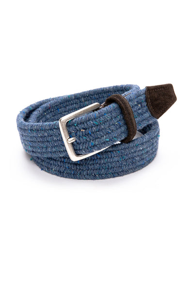 Anderson's Wool Melange Stretch Braided Belt in Blue Grey at Ron Herman