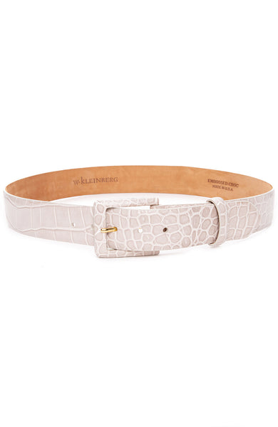 W. Kleinberg Embossed Crocodile Covered Buckle Belt in Bone at Ron Herman