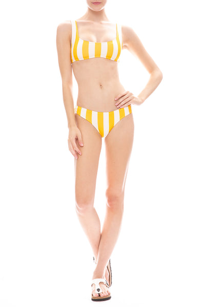 Solid & Striped Elle Striped Bikini Bottom and Top in Tweety Yellow and Cream
