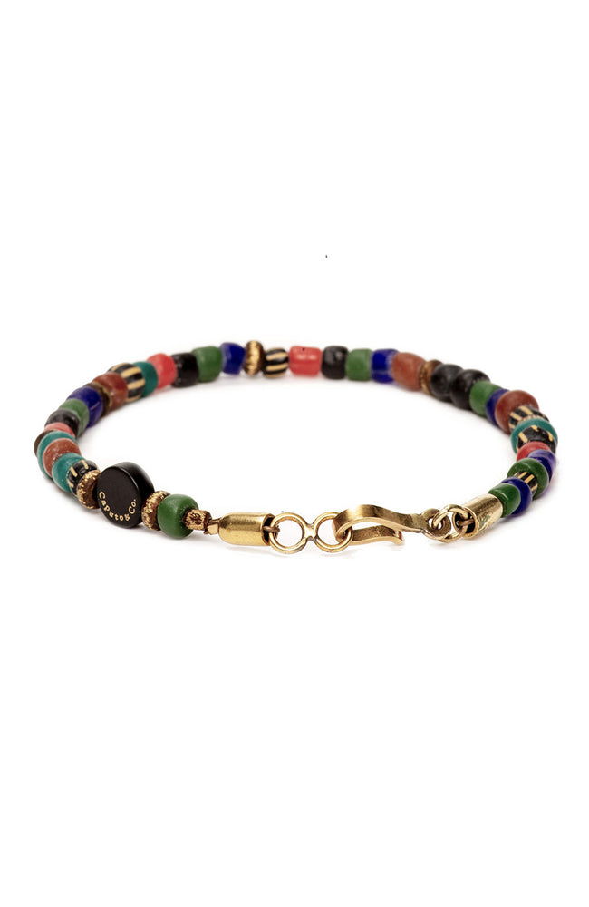 Caputo & Co. Multi Color Glass and Brass Bead Bracelet at Ron Herman