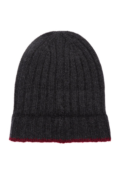 Alex Mill Charcoal Cashmere Rib Beanie with Maroon Tipping Beanie at Ron Herman