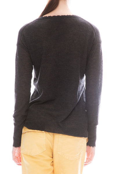Distressed Sheer Crew Sweater