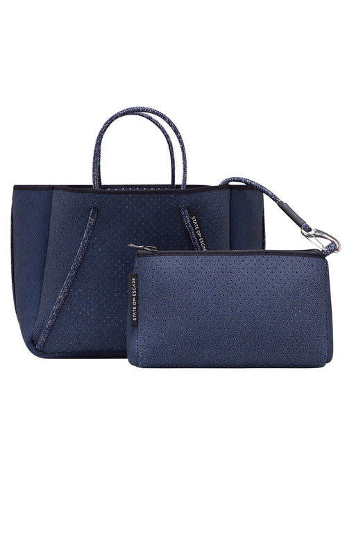 State of Escape Petite Guise Neoprene Tote Bag in Dark Denim