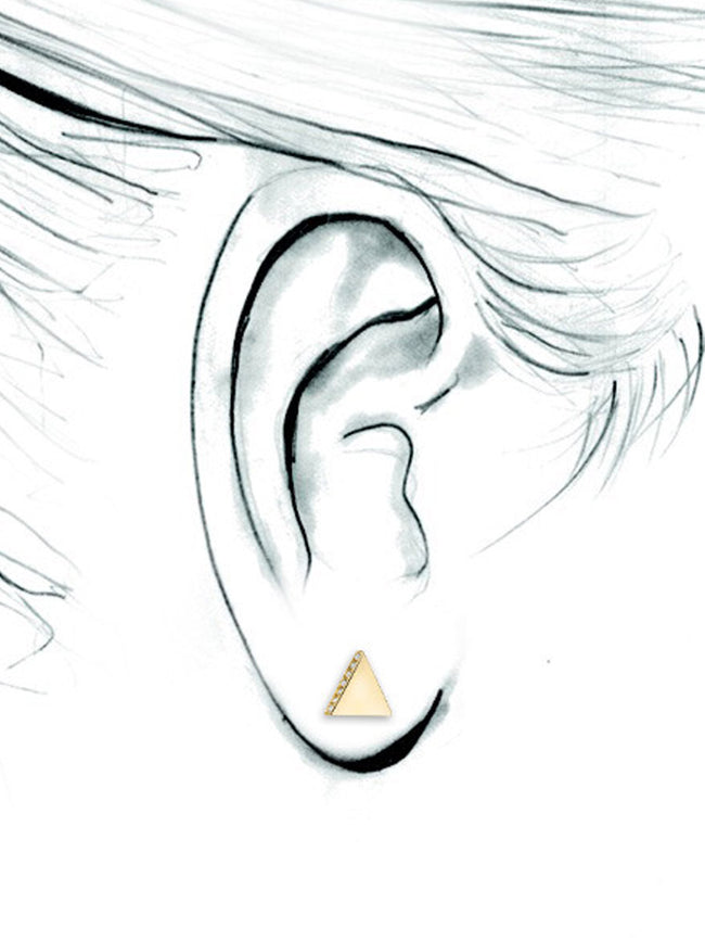 14K Diamond Triangle Stud