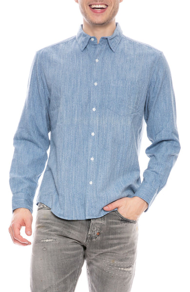 Don Heathered Blue Flannel Shirt