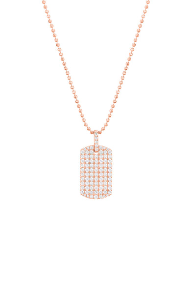 Carbon & Hyde Rose Gold Diamond Dog Tag Necklace at Ron Herman