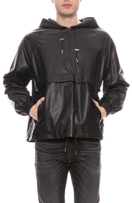 Leather Anorak Pullover