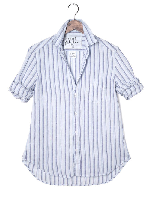 Womens Eileen Italian Linen Double Stripe Shirt