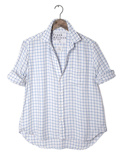 Womens Eileen Italian Modal Blue Grid Shirt
