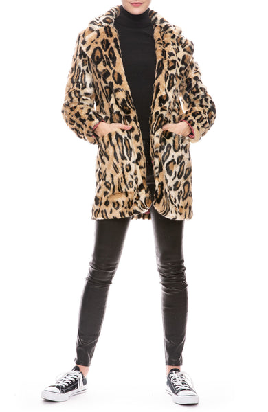 Margot Faux Fur Long Leopard Coat
