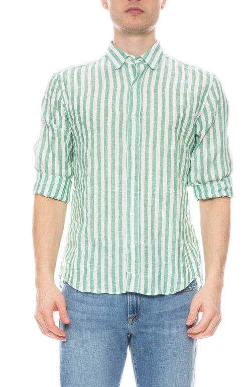 Finbar Linen Wide Stripe Shirt