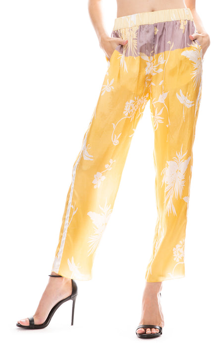 Bouganvilla Print Twill Pants