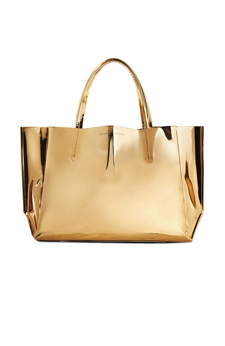 Soft Sideways Gold Mirror Tote