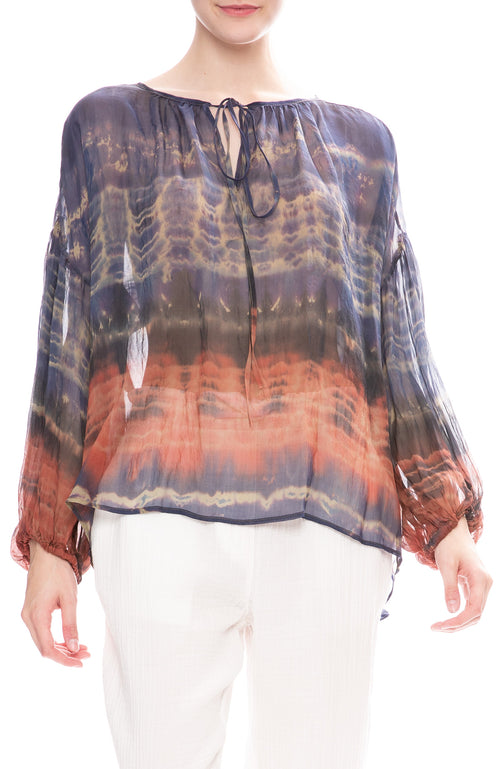 Raquel Allegra Shirred Green Jungle Tie-Dye Blouse