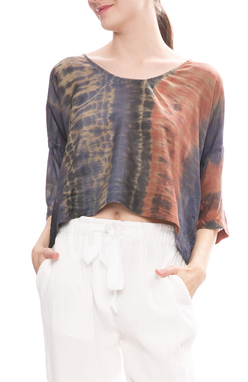 Raquel Allegra Silk Green Jungle Tie-Dye Pop Over Blouse