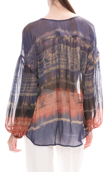 Raquel Allegra Shirred Tie-Dye Blouse in Green Jungle