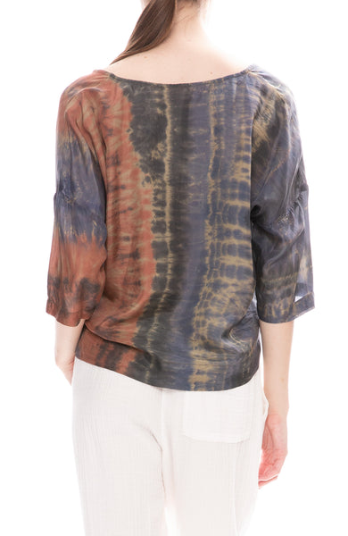 Raquel Allegra Silk Pop Over Blouse in Green Jungle Tie-Dye