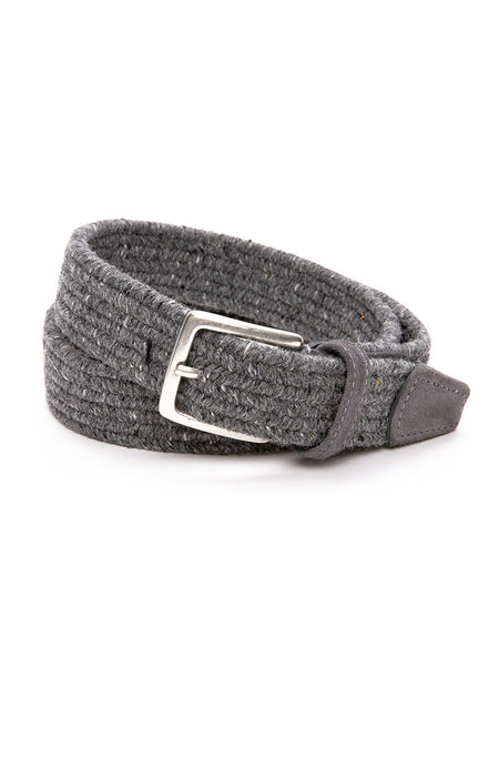 Wool Melange Stretch Braided Belt