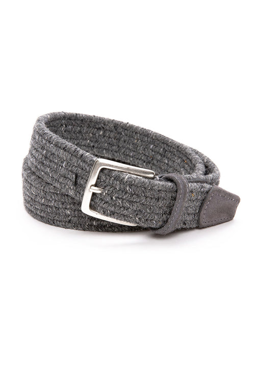 Anderson's Wool Melange Stretch Braided Belt in Grey at Ron Herman