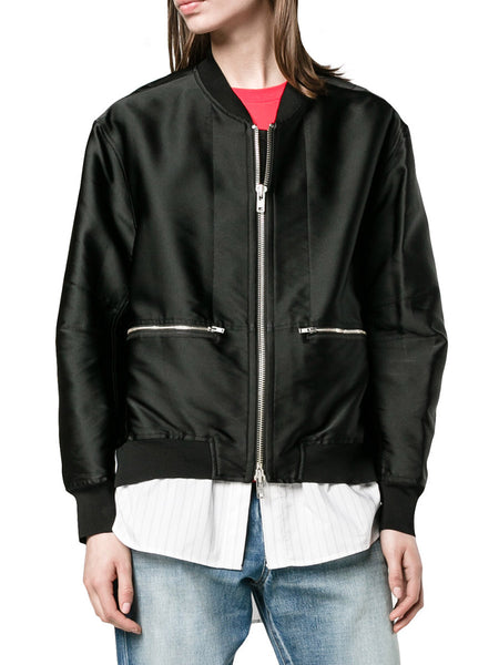 Poplin Panel Satin Twill Bomber Jacket