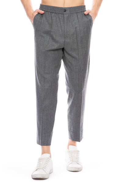 Cropped Elastic Waist Trouser Pants