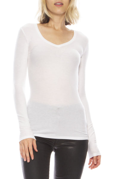 Rib Long Sleeve V Neck Tee