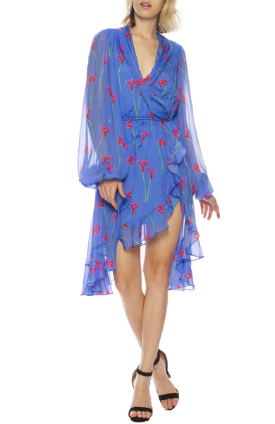 Olivia Floral Print Silk Ruffle Open-Back Dress