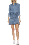 Valle Chambray Tie-Front Ruffle Dress