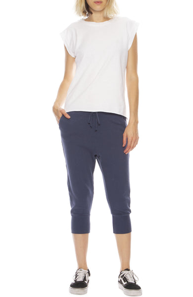 Tee Lab by Frank & Eileen Vintage Muscle Tee in Whiteout with Navy Super Cropped Sweatpants