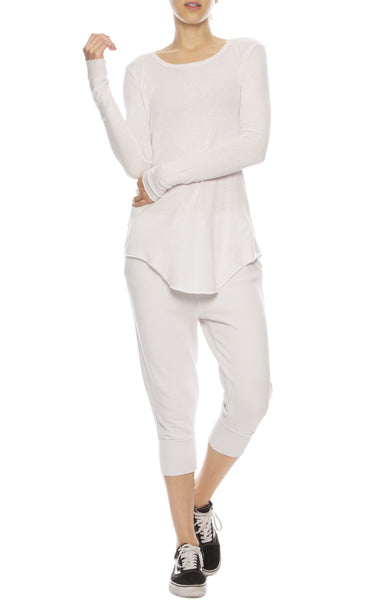 Tee Lab by Frank & Eileen Super Crop Sweatpants in Dirty White with Long Sleeve Tee