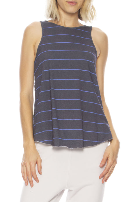 Striped High Neck Tank