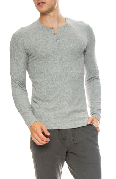 ATM Mens Modal Ribbed Henley in Heather Grey
